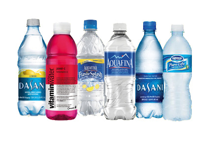 Variety of bottled water