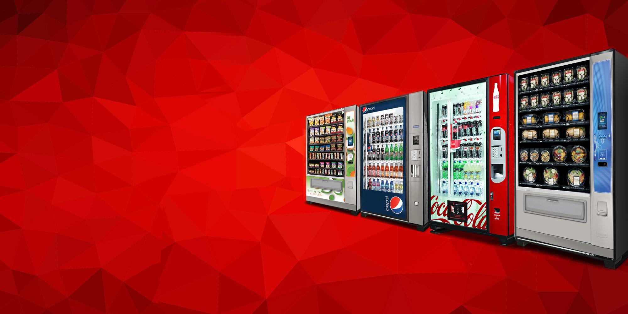 Beverage vending machines, snack vending machines, and food vending machines